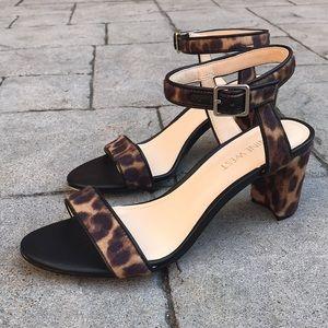Nine West Leopard Print Pixel Block Heel Sandals